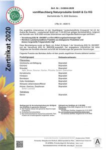 BIO Zertifikat 2020 Seite 1